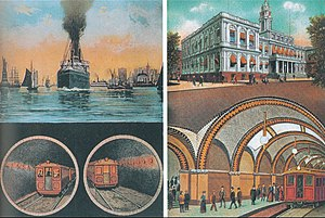 Joralemon Street Tunnel - 1913 postcard illustrating the tunnel and City Hall station.