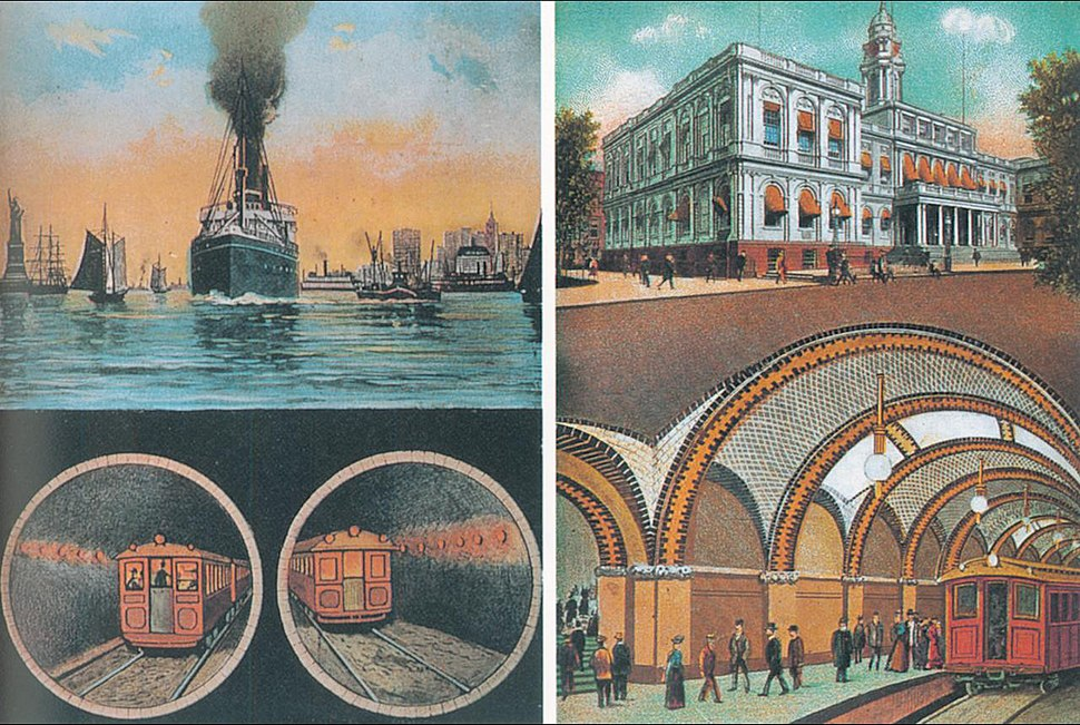 Joralemon Street Tunnel postcard, 1913