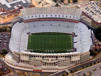 Jordan–Hare Stadium - Aerial view of the stadium, 2008