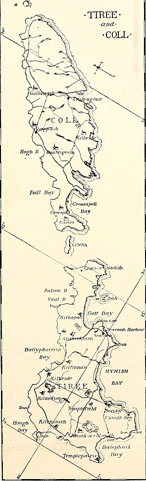 Tiree - Map of Tiree (bottom, southwest) and Coll (top, northeast), 1899.