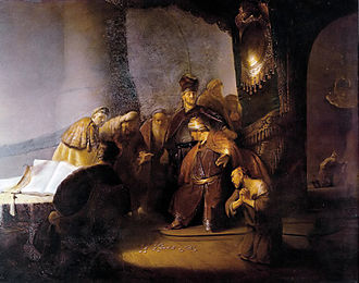 History painting - Judas Returning the Thirty Silver Pieces by Rembrandt, 1629