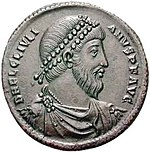 Roman coin with the portrait of Julian, who spent his winters writing in Paris