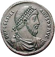 A bronze coin from Antioch depicting the emperor Julian. Note the pointed beard.