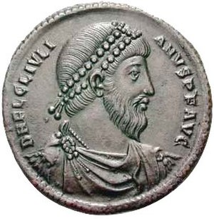 Julian (emperor) - Portrait of Emperor Julian on a bronze coin from Antioch minted in 360–363