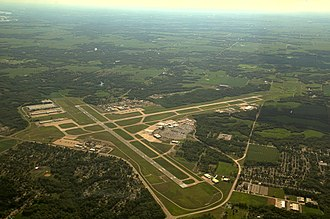 General Wayne A. Downing Peoria International Airport - Aerial Photograph of the Peoria Airport and the surrounding Illinois countryside to the southwest of the city.