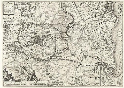 Kaart van het beleg van Breda, 1637 Nieuwe Kaerte van Breda belegert door syne Altessa Frederick Hendrick van Nassou Prince van Orangien den 23 July 1637 (titel op object), RP-P-OB-81.412
