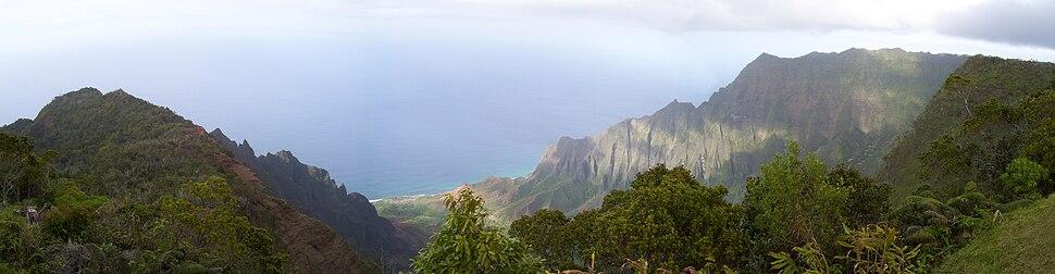 A view of the Kalalau Valley on Kauaʻi's Nā Pali Coast from the Kalalau Lookout.