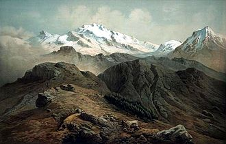 Hermann Schlagintweit - Painting of the Kanchenjunga as seen from the Singalila Ridge, India, by Hermann Schlagintweit, 1855.