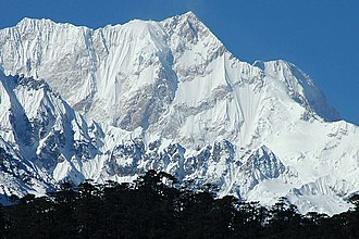 Glacier - Eastern face of Kangchenjunga, the third highest mountain in the world, near the Zemu Glacier, in the Himalayan region of Sikkim, India.