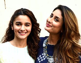 Alia Bhatt - Bhatt with co-star Kareena Kapoor at a promotional event for Udta Punjab in 2016. For her performance in the film, Bhatt won the Filmfare Award for Best Actress.