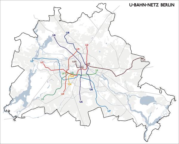 Сеть линий берлинского метро .