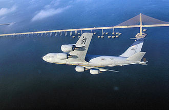 MacDill Air Force Base - MacDill AFB KC-135R over Tampa Bay and the Sunshine Skyway Bridge