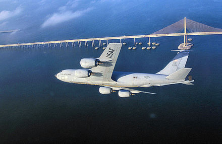 A KC-135R stationed at MacDill flying over Tampa Bay Kc-135r-6thog-macdill.jpg