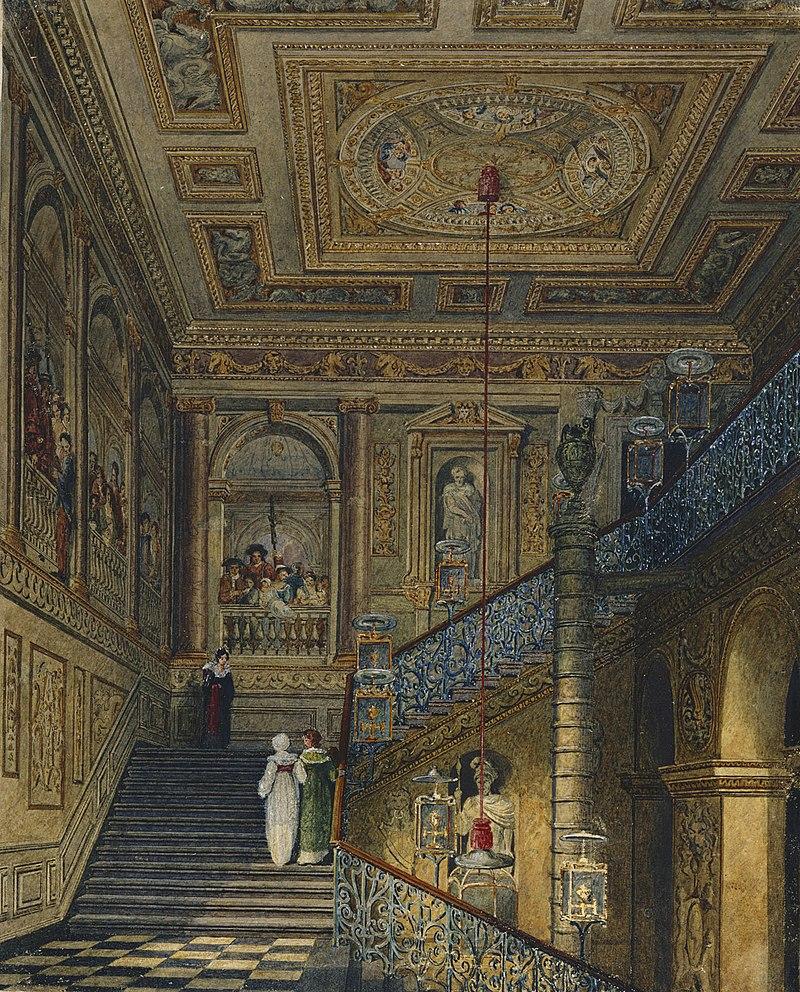 Кенсингтонский дворец, Большая лестница, Чарльз Уайлд, 1819 - royal coll 922149 313710 ORI 2.jpg