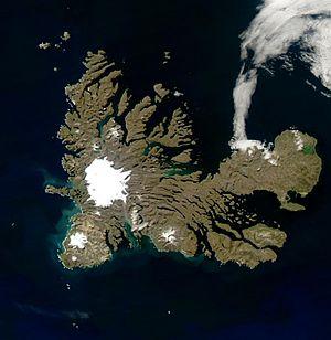 Rallier du Baty Peninsula - Satellite image of the Kerguelen Islands