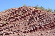 Layered reddish rock