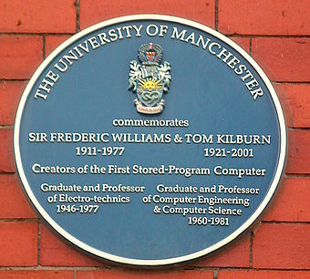 A plaque in honour of Williams and Kilburn at the University of Manchester Kilburn Williams Plaque cropped.jpg