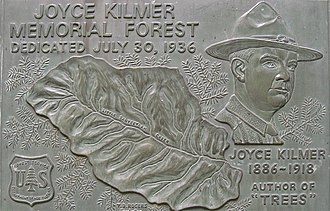 Joyce Kilmer Memorial Forest - Image: Kilmer Memorial Plaque