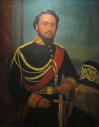 Kamehameha IV, King of Hawaii King Kamehameha IV painted by William Cogswell, Bishop Museum.jpg