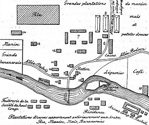 Kisangani - Stanley Falls Station, map plan in 1893, laying the foundations of Kisangani