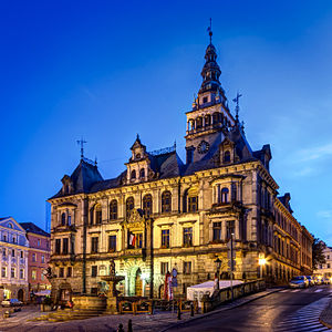 Kłodzko - Night view of the town hall (built in 1890, but older Gothic-Renaissance tower has been preserved)