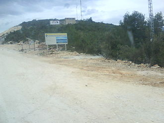 Pelješac Bridge - Entrance to construction site of the bridge from mainland side in village of Komarna