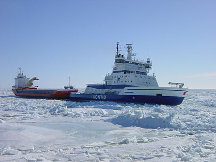 Icebreakers enable shipping in Finland during severe winters. Kontio towing.jpg