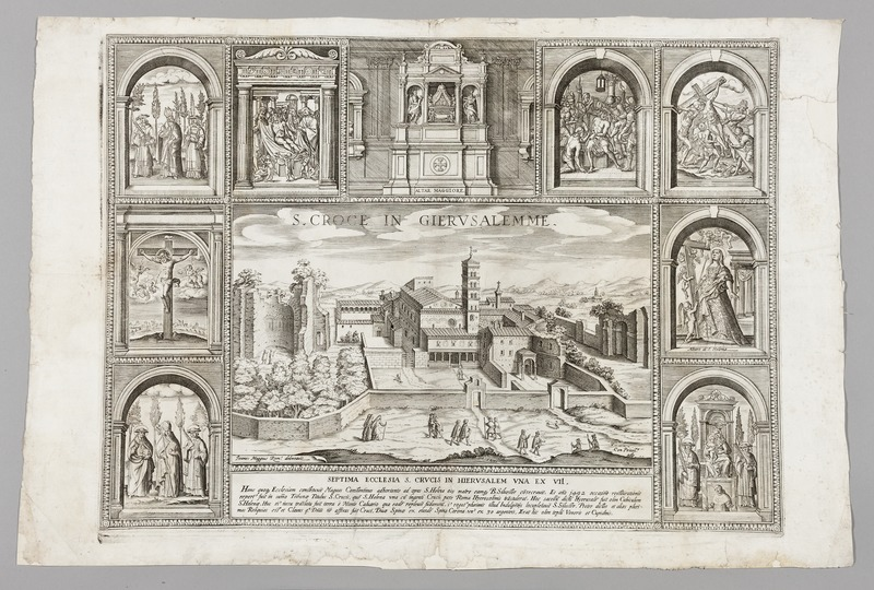 Kopparstick på kyrkan St. Croce i Rom, 1600-tal - Skoklosters slott - 99724.tif