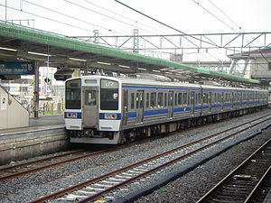 Oyama Station - A Mito Line 415 series train at Oyama