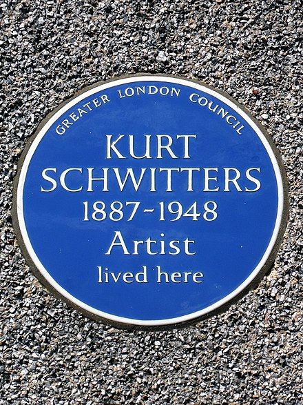 Blue plaque erected in 1984 by the Greater London Council at 39 Westmoreland Road, Barnes, London SW13 Kurt Schwitters 1887-1948 Artist lived here.jpg