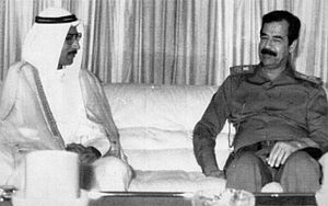 Republic of Kuwait - Republic of Kuwait's Prime Minister Alaa Hussein Ali with Iraqi President Saddam Hussein in 1990.