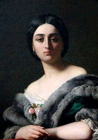Henri Lehmann - Portrait of Léonide (ou Monna Belcolore) by Henri Lehmann (1848). Musée d'arts de Nantes, France