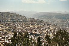 La Paz, Bolivia. 3,600 m (12,000 ft) above sea level