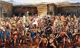 Battle of Cajamarca - Capture of Atahualpa by Juan Lepiani