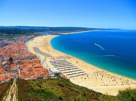 Panoramic view of Nazaré and its beach