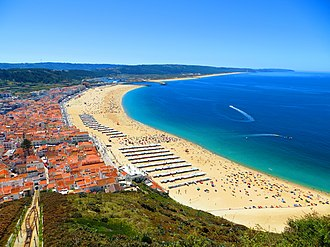 Nazaré, Portugal - Panoramic view of Nazaré and its beach