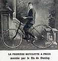 La première bicyclette à pneumatiques (vers 1888, fils Dunlop).jpg