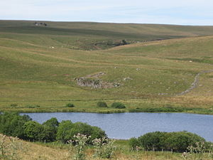Aubrac - The Souveyrols lake and a typical landscape of the Aubrac plateau around it.