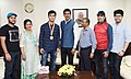 Lakshya Sen, 16, Winner of Badminton Asian Junior Championships title in Jakarta recently, calling on the Minister of State for Youth Affairs & Sports and Information & Broadcasting (IC), Col. Rajyavardhan Singh Rathore (2).JPG