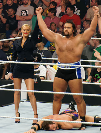 Rusev (wrestler) - Rusev (right) celebrating a win with Lana in April 2014.