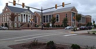 Lancaster, South Carolina - Main Street intersecting with Dunlap Street.