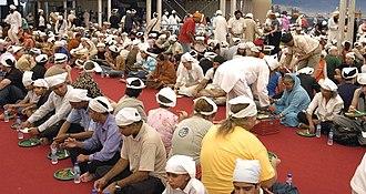 Langar (Sikhism) - A community meal in progress at a Sikh langar