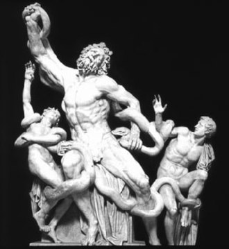 Laocoön and His Sons - The group as it was between c. 1540 and 1957, with Laocoön's extended arm; the sons' restored arms were removed in the 1980s.