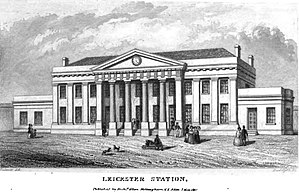 Midland Counties Railway - Leicester Campbell Street station from the Midland Counties' Railway Companion of 1840