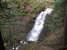 A waterfall seen from above spills down a broad stone wall made of many layers of rock, surrounded by foliage.