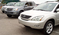 Shown from left to right: The LX, GX, and RX.