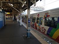 "Limited Express Train ""Shiokaze"" (Anpanman Train) and platform of Okayama Station (Local lines).JPG"