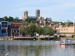 Lincoln Cathedral, as seen from across the Brayford Pool