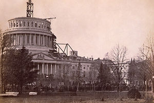 United States Capitol dome - Inauguration of Abraham Lincoln, March 4, 1861, beneath the unfinished capitol dome