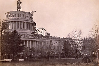 Washington, D.C. - President Abraham Lincoln insisted that construction on the United States Capitol dome continue during the American Civil War; 1861.